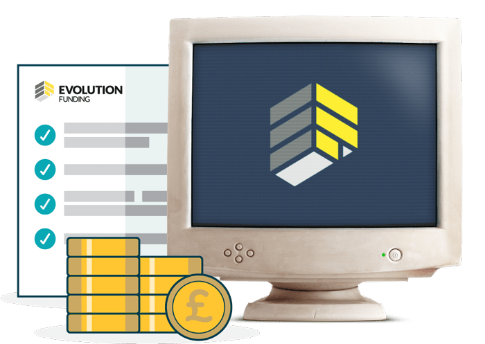 Computer showing evolution funding logo next to pile of money