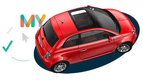 Red Fiat 500 car purchased using online car finance
