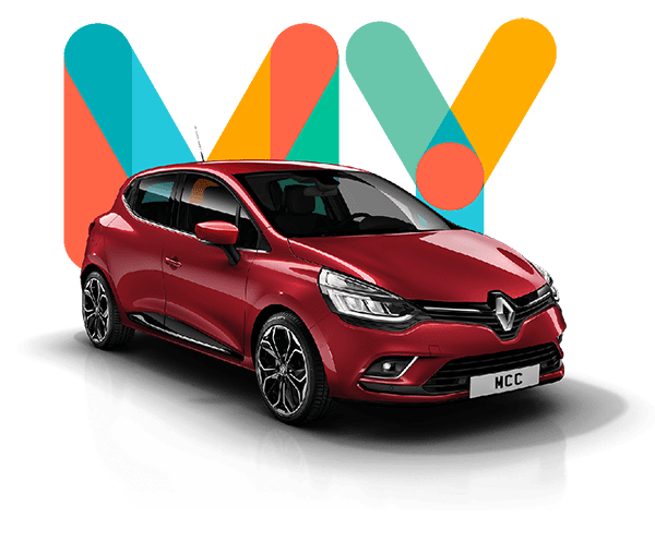 Colourful my car credit behind red Renault purchased using poor credit car loan