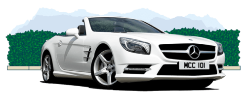 White Mercedes coupe bought on conditional sale finance