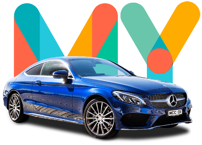Blue Mercedes and colourful my car credit logo for quick car finance process