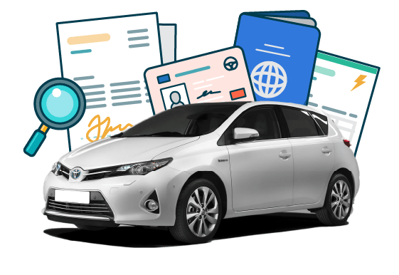 White Toyota with checking documents