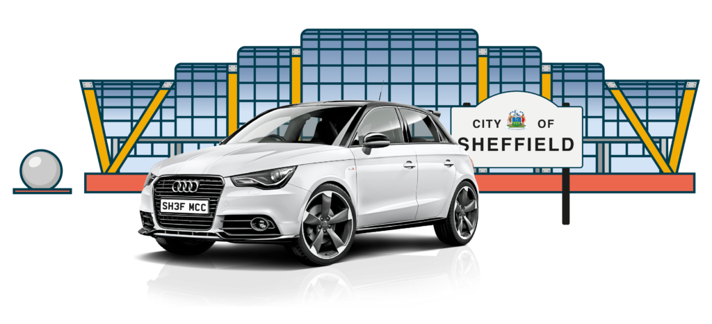 White Audi bought using car finance outside the Sheffield Winter Gardens