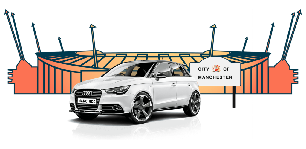 White Audi bought using car finance outside manchester city football ground