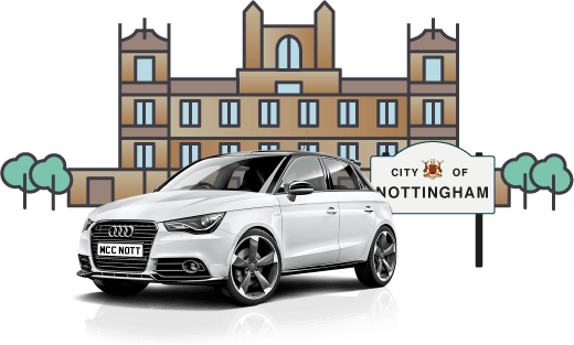 White Audi bought using car finance outside Wollaton Hall Nottingham