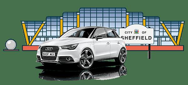 White Audi bought using car finance outside the Sheffield Winter Gardens