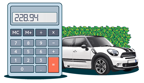 Calculator for working out car finance monthly payments and white mini cooper bought on car finance